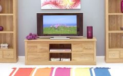Modern Light Oak Widescreen Television Cabinet