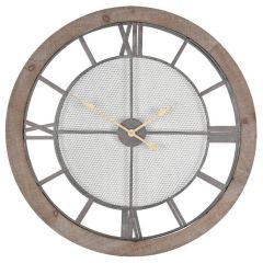 Natural Wood and Gold Wall Clock