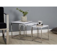 Nest Of 3 Square Tables With White Gloss Top