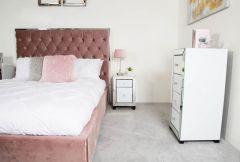 Olivia Mirror Glass White Bedside Cabinet - 1 Drawer