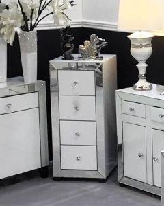 Olivia Mirror Glass White Narrow Chest
