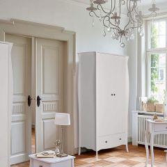 Provence Inspired White Wardrobe 2 Doors 1 Drawers