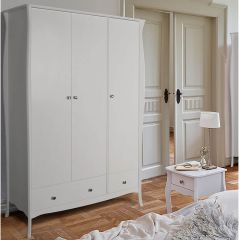 Provence Inspired White Wardrobe 3 Doors 1+1 Drawers