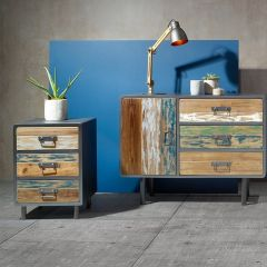 Reclaimed Wood & Black Metal Bedside Chest