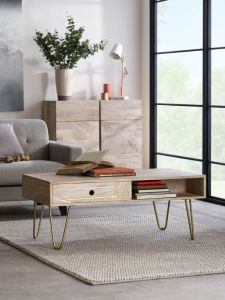 Sai Light Gold Rectangular Coffee Table With Gold Inlay