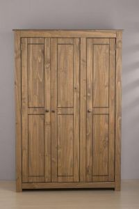 Santi Distressed Pine Triple Wardrobe
