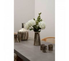 Silver Metal Large Hammered Effect Vase