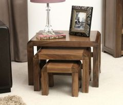 Solid Walnut Nest of 3 Coffee Tables