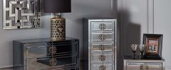 Stefano Smokey Mirrored Chest of Drawers