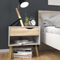 Stockholm Bedside Cabinet in White with Black or Oak