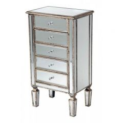 Torino Mirrored Distressed 5 Drawers Tallboy
