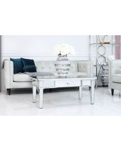 Traditional Mirrored Coffee Table with Silver finish