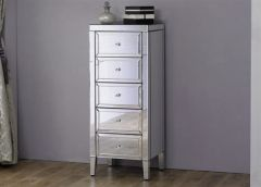 Turia Mirrored 5 Drawer Narrow Chest