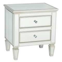 Venetian Style Mirrored 2 Drawer Bedside Table
