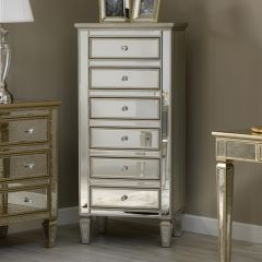 Venetian Style Mirrored 6 Drawer Tall Chest