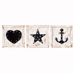 Washed Wood Square Set of 3 LED Wall Art