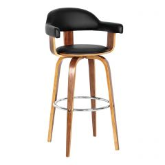 Walnut Veneer Rotating Padded Bar Chair