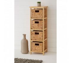 Water Hyacinth 4 Basket Storage Unit