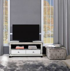 White Glass and Mirrored New York 2 TV Unit