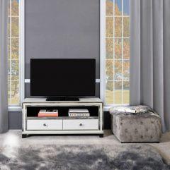 White Glass and Mirrored New York 2 TV Unit