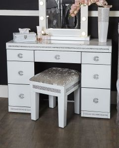 White Cleopatra Mirrored Dressing Table