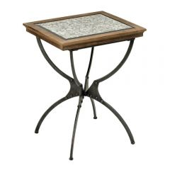 Industrial Fir Wood Side Table With Grey Top