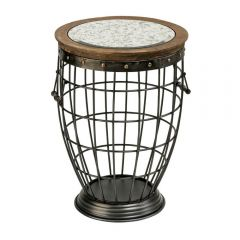 Industrial Fir Wood Round Side Table With Grey Top