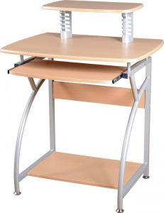 Chico Basics Natural Wood and Silver Computer Desk