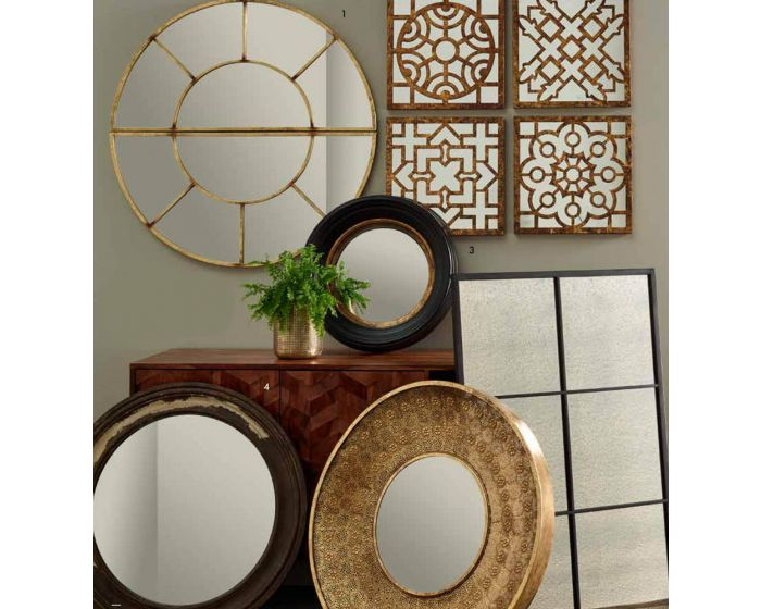 Set of 4 Square Gold Mirrored Wall Art