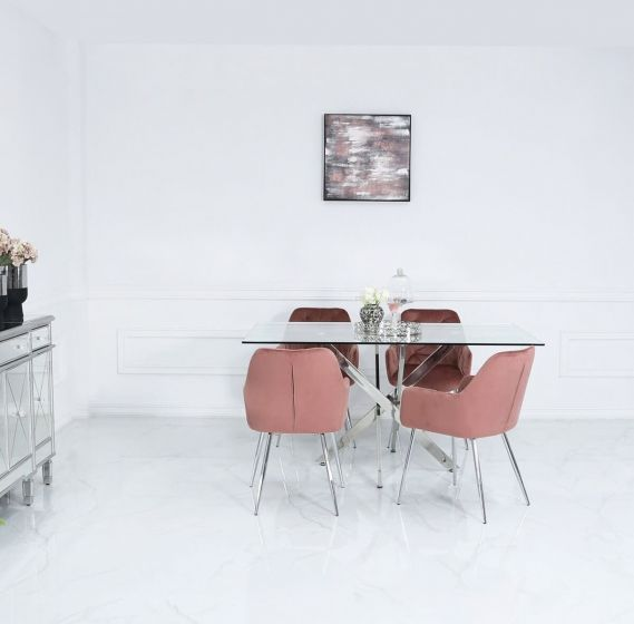 160cm Nora Dining Set with 4 Pink Chairs