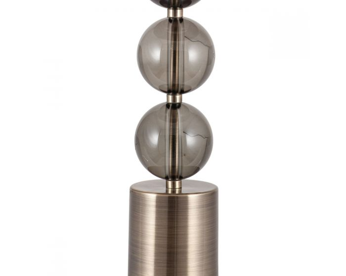 3 Ball Large Antique Brass and Smoke Glass Table Lamp