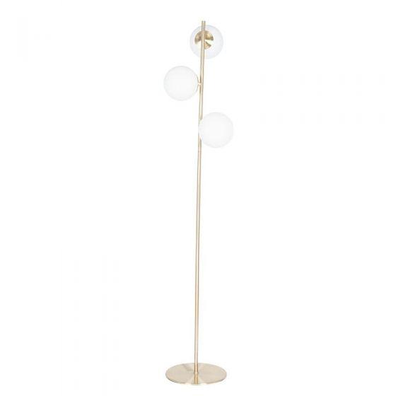 3 White Orb Metal Gold Floor Lamp