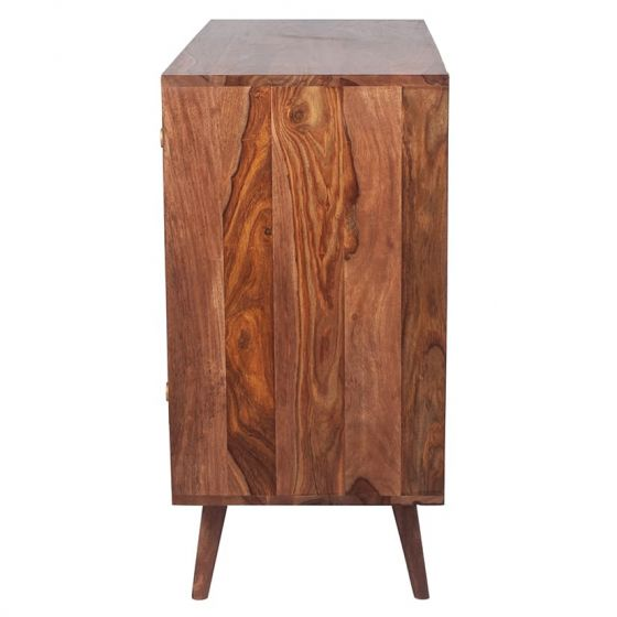 3D Honeycomb Design Sheesham Wood Chest of 3 Drawers