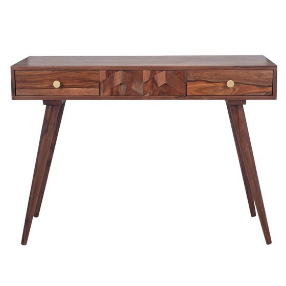 3D Honeycomb Design Sheesham Wood Console Table