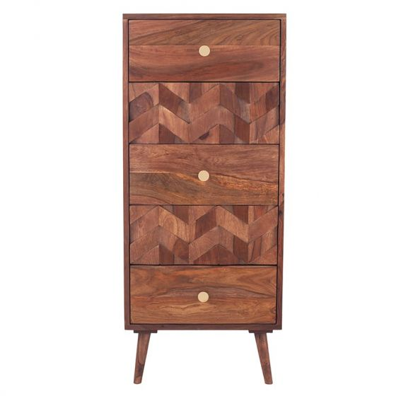 3D Honeycomb Design Sheesham Wood Tallboy