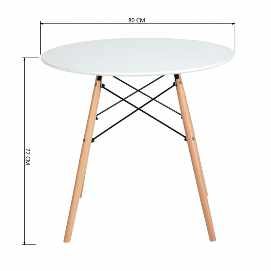 Scandinavian White & Oak Wood Round Dining Set With 4 Chairs