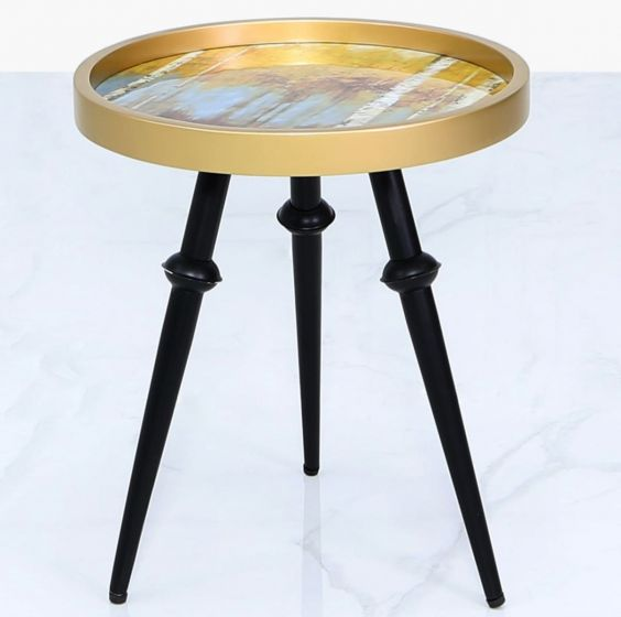 Abstract Yellow and Gold Wooden Side Table