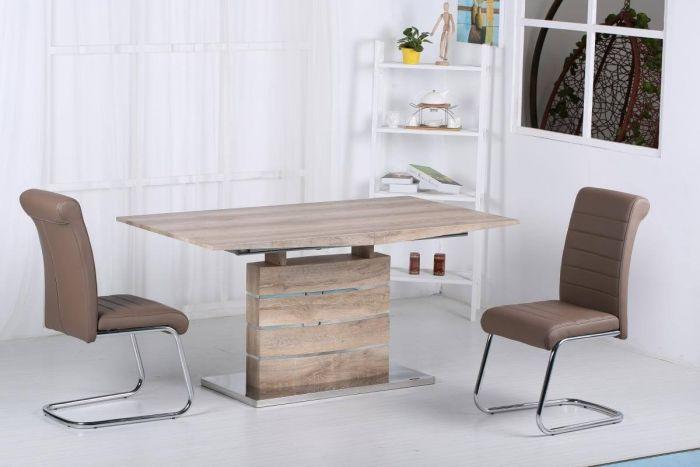 Abstract Natural Oak Effect Extending Dining Set