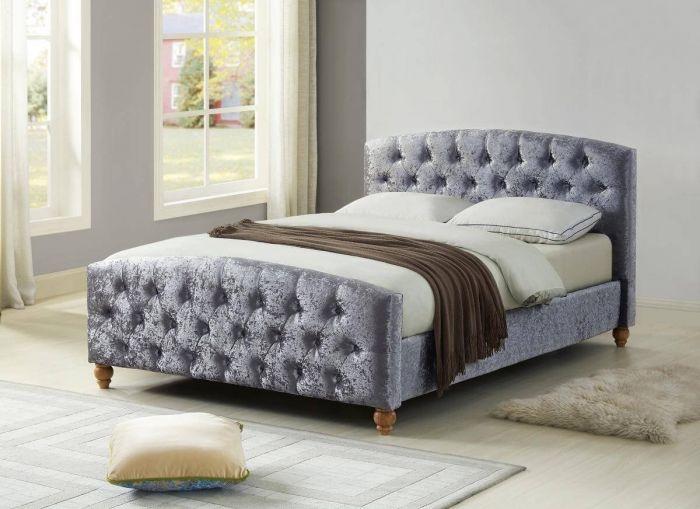 Agathe Silver Crushed Velvet Bed Frame
