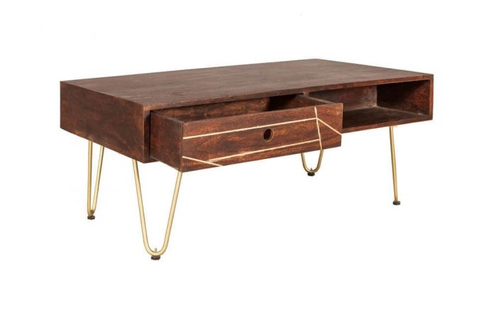 Ajay Dark Gold Rectangular Coffee Table With Gold Inlay