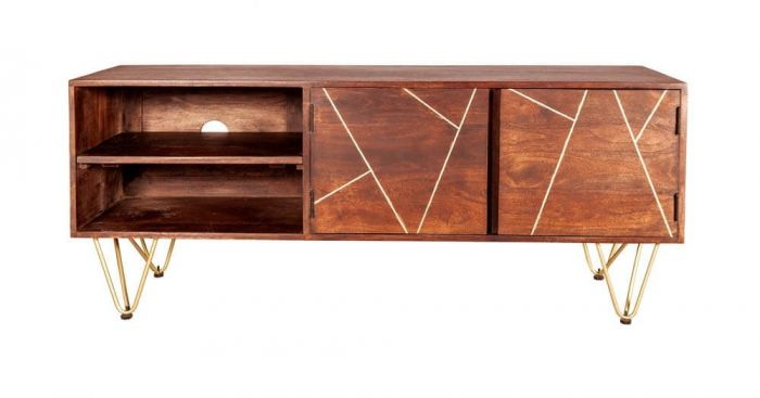 Ajay Dark Gold TV Unit With Gold Inlay