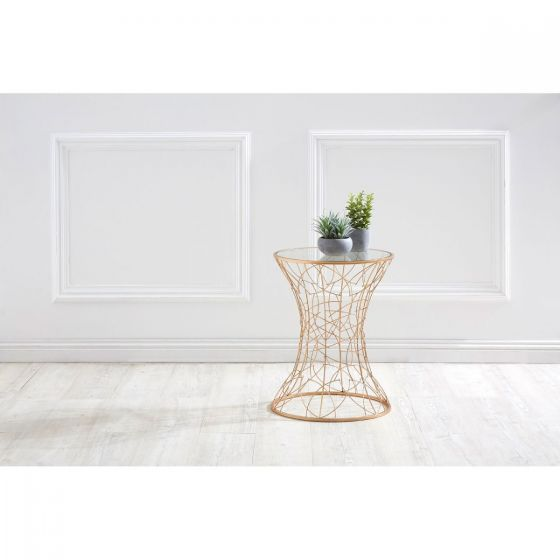 Alexa Detailed Base Gold Side Table