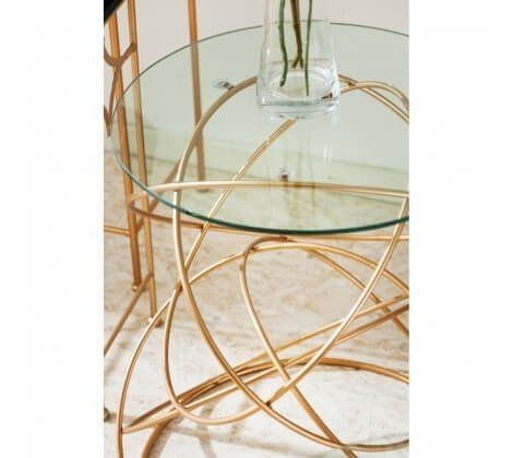 Alexa Swirls Base Rose Gold Side Table