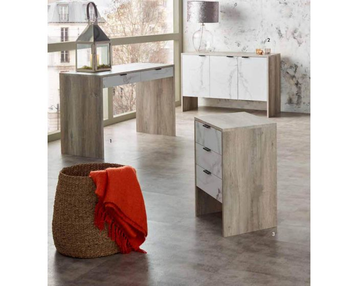 Alivia Grey and Marble Effect Office Desk