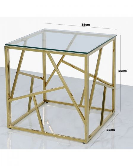 Amber Gold Metal Side Table