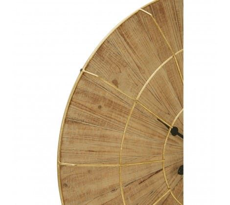 Andrea Natural Wood Gold Wall Clock
