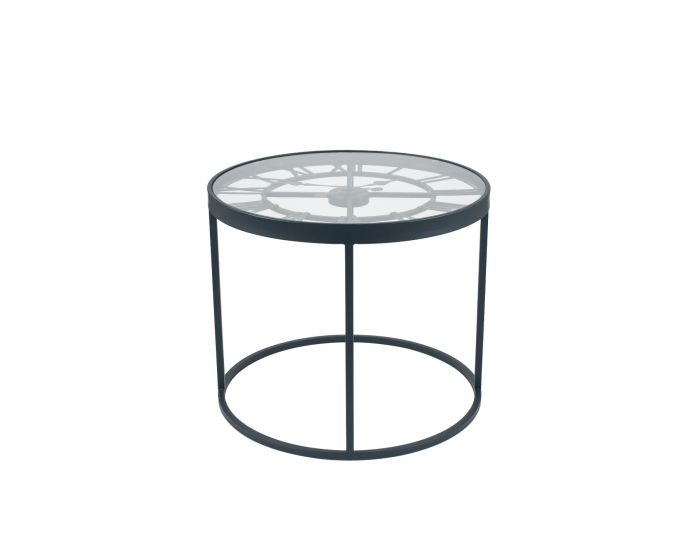 Antique Black Metal Clock Design Side Table