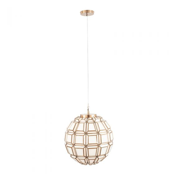 Antique Brass Rustic Pendant with White Glass