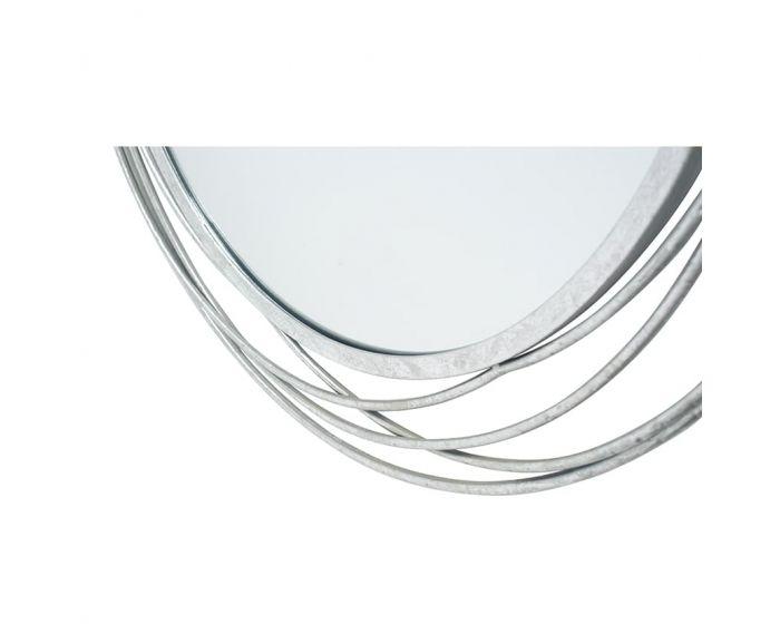 Antique Silver Swirl Metal Round Wall Mirror