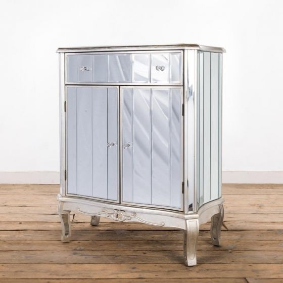 Antonia Shabby Silver Mirrored Cabinet